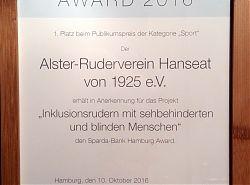 Urkunde für den Alster-Ruderverein Hanseat